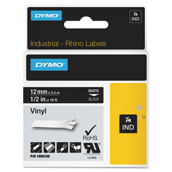 Dymo 1805435 Black Vinyl Labels