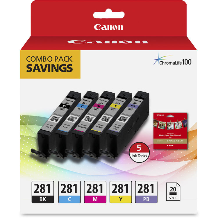 Cyan Canon CLI-281 BKCMY Combo 4-Pack of Black Magenta and Yellow Ink Tanks
