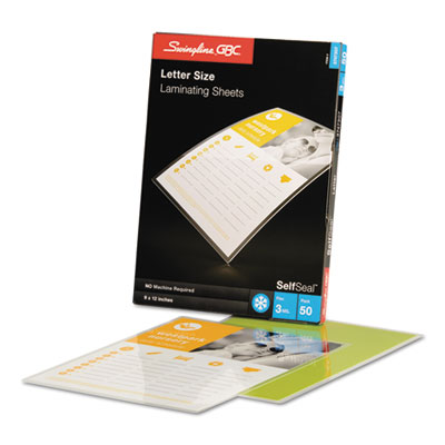 Swingline 3747307 Swingline SelfSeal Self-Adhesive Laminating Pouches & Single-Sided Sheets