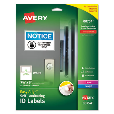 Avery 00754 Self-Laminating ID Labels