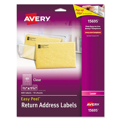 Avery 15695 Clear Easy Peel Mailing Labels