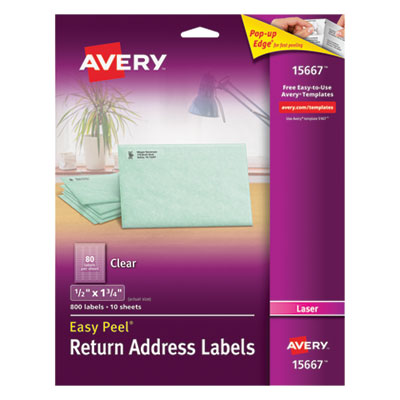 Avery 15667 Clear Easy Peel Mailing Labels