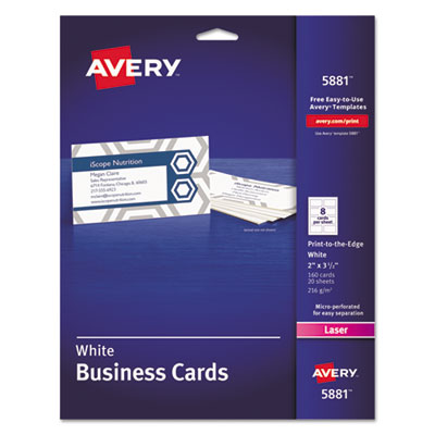Avery 5881 Standard Printable Microperforated Business Cards