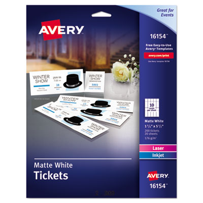 Avery 16154 Printable Tickets with Tear-Away Stubs