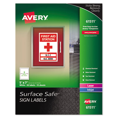 Avery 61511 Surface Safe Sign Labels
