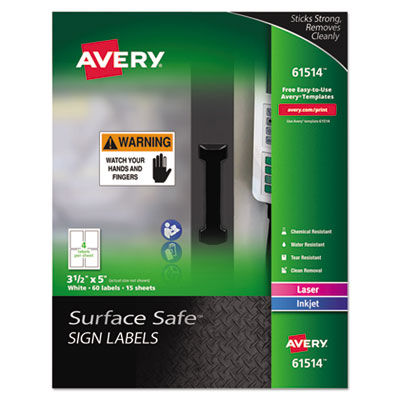 Avery 61514 Surface Safe Sign Labels