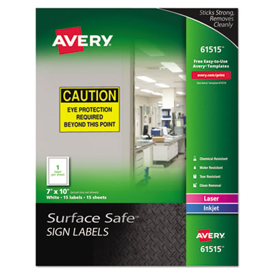 Avery 61515 Surface Safe Sign Labels
