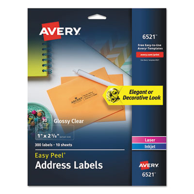 Avery 6521 Glossy Clear Easy Peel Mailing Labels