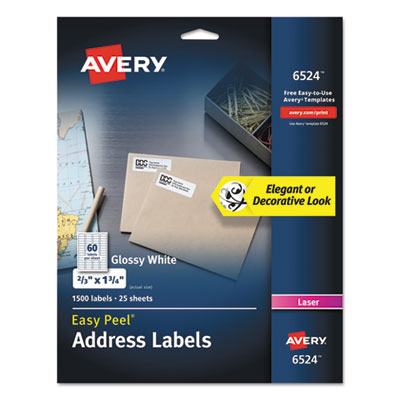Avery 6524 Glossy White Easy Peel Mailing Labels