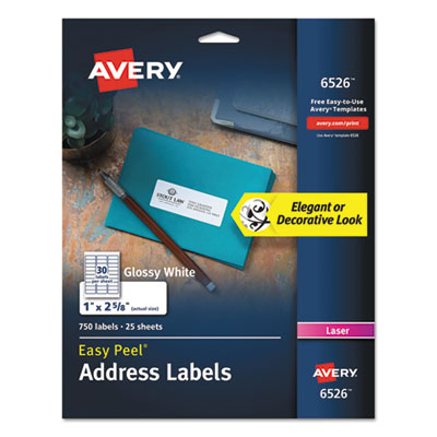 Avery 6526 Glossy White Easy Peel Mailing Labels