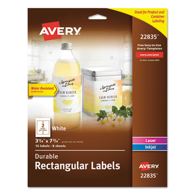 Avery 22835 Durable Water-Resistant Wraparound Labels