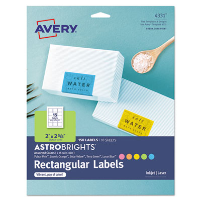 Avery 4331 Color Easy Peel Labels