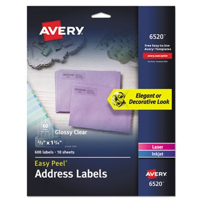 Avery 6520 Glossy Clear Easy Peel Mailing Labels