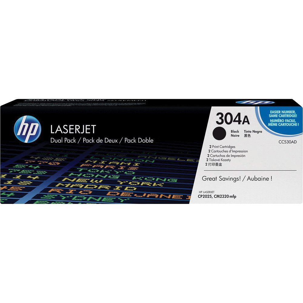 HP CC530AD Black Toner Cartridge Dual Pack