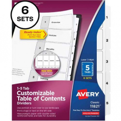 Avery Ready Index Binder Dividers - Customizable Table of Contents (11821)