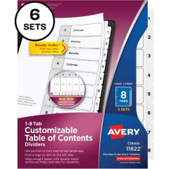 Avery Ready Index Binder Dividers - Customizable Table of Contents (11822)