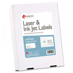 Maco White Laser/Inkjet Shipping and Address Labels, Inkjet/Laser Printers, 2 x 4, White, 10/Sheet,