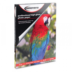 Innovera High-Gloss Photo Paper, 10 mil, 8.5 x 11, High-Gloss White, 50/Pack (99550)