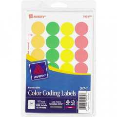 Avery Print or Write Color-Coding Labels (5474)