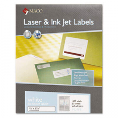 Maco Laser/Inkjet White File Folder Labels, 0.66 x 3.44, White, 30/Sheet, 50 Sheets/Box (MLFF31)