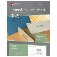 Maco Laser/Inkjet Matte Clear Full Sheet Labels, Inkjet/Laser Printers, 8.5 x 11, Clear, 50/Box (ML4