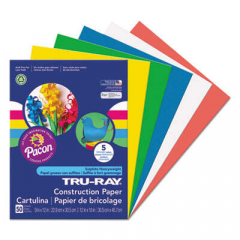 Pacon Tru-Ray Construction Paper, 76lb, 9 x 12, Assorted Primary Colors, 50/Pack (6572)