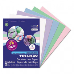 Pacon Tru-Ray Construction Paper, 76lb, 9 x 12, Assorted Pastel Colors, 50/Pack (6568)