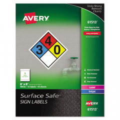 Avery 61513 Surface Safe Sign Labels