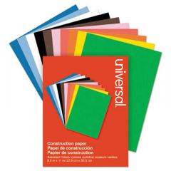 Universal Construction Paper, 76lb, 9 x 12, Assorted, 200/Pack (20900)