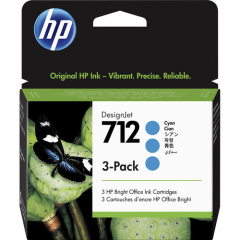 HP 712 3-Pack Cyan Ink Cartridge (3ED77A)