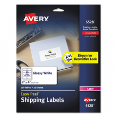 Avery 6528 Glossy White Easy Peel Mailing Labels