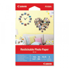 Canon Matte Restickable Photo Paper, 10.6 mil, 4 x 6, White, 5 Sheets/Pack (3635C002)