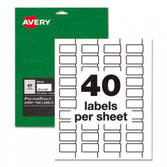 Avery PermaTrack Durable White Asset Tag Labels, Laser Printers, 0.75 x 1.5, White, 40/Sheet, 8 Shee