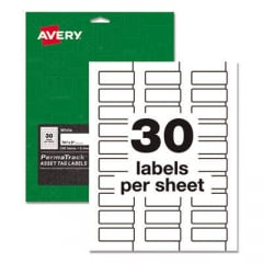 Avery PermaTrack Durable White Asset Tag Labels, Laser Printers, 0.75 x 2, White, 30/Sheet, 8 Sheets