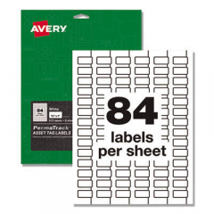Avery PermaTrack Durable White Asset Tag Labels, Laser Printers, 0.5 x 1, White, 84/Sheet, 8 Sheets/