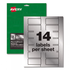 Avery PermaTrack Metallic Asset Tag Labels, Laser Printers, 1.25 x 2.75, Silver, 14/Sheet, 8 Sheets/