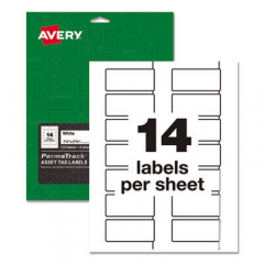 Avery PermaTrack Durable White Asset Tag Labels, Laser Printers, 1.25 x 2.75, White, 14/Sheet, 8 She