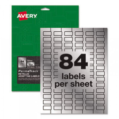 Avery PermaTrack Metallic Asset Tag Labels, Laser Printers, 0.5 x 1, Silver, 84/Sheet, 8 Sheets/Pack