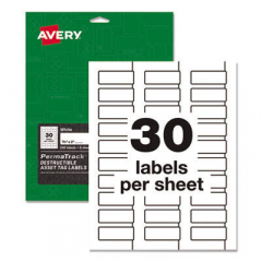 Avery PermaTrack Destructible Asset Tag Labels, Laser Printers, 0.75 x 2, White, 30/Sheet, 8 Sheets/