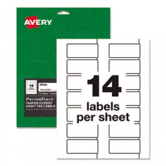 Avery PermaTrack Tamper-Evident Asset Tag Labels, Laser Printers, 1.25 x 2.75, White, 14/Sheet, 8 Sh