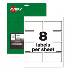 Avery PermaTrack Tamper-Evident Asset Tag Labels, Laser Printers, 2 x 3.75, White, 8/Sheet, 8 Sheets