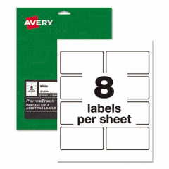 Avery PermaTrack Destructible Asset Tag Labels, Laser Printers, 2 x 3.75, White, 8/Sheet, 8 Sheets/P