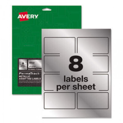 Avery PermaTrack Metallic Asset Tag Labels, Laser Printers, 2 x 3.75, Silver, 8/Sheet, 8 Sheets/Pack
