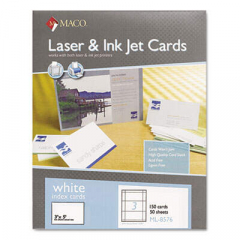 Maco Unruled Microperforated Laser/Ink Jet Index Cards, 3 x 5, White, 150/Box (ML8576)