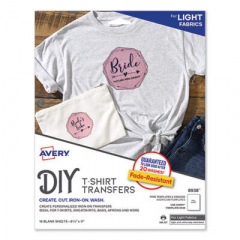 Avery Fabric Transfers, 8.5 x 11, White, 18/Pack (8938)