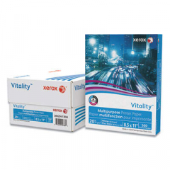 Xerox Vitality Multipurpose Print Paper, 92 Bright, 20lb, 8.5 x 11, White, 500 Sheets/Ream, 3 Reams/