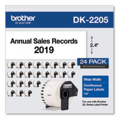 "Brother Continuous Paper Label Tape, 2.4"" x 100 ft, White, 24 Rolls/Pack (DK220524PK)"