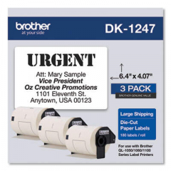 Brother Die-Cut Shipping Labels, 4.07 x 6.4, White, 180/Roll, 3 Rolls/Pack (DK12473PK)