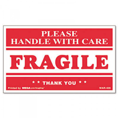 Universal Printed Message Self-Adhesive Shipping Labels, FRAGILE Handle with Care, 3 x 5, Red/Clear,