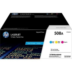 HP 508A CF360AM Cyan, Magenta, Yellow Toner Cartridge 3-pack
